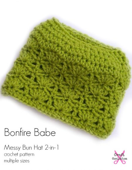 Bonfire Babe Messy Bun Hat 2-in-1 crochet pattern multiple sizes, by Mistie Bush for CraftCoalition.com