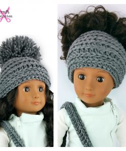My Dolly Edgy Messy Bun Hat for an 18 doll by Celina Lane, CraftCoalition.com rav